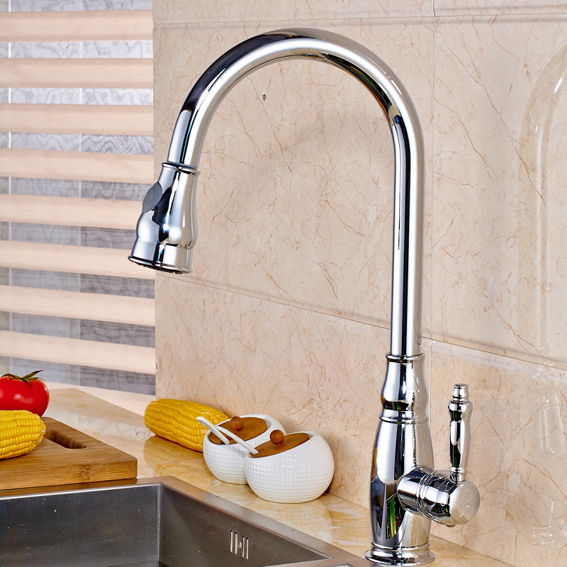 все цены на Chrome Finish Pull Out Kitchen Faucet Deck Mounted Sink Mixer Tap Dual Stream & Sprayer with Hot and Cold Water