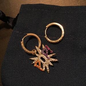 Image 3 - ماركة UMGODLY أقراط مرصعة بحجر الزركونيوم متعدد الألوان بألوان غير متماثلة على الموضة للسيدات مجوهرات روك وصلت حديثًا في أبريل
