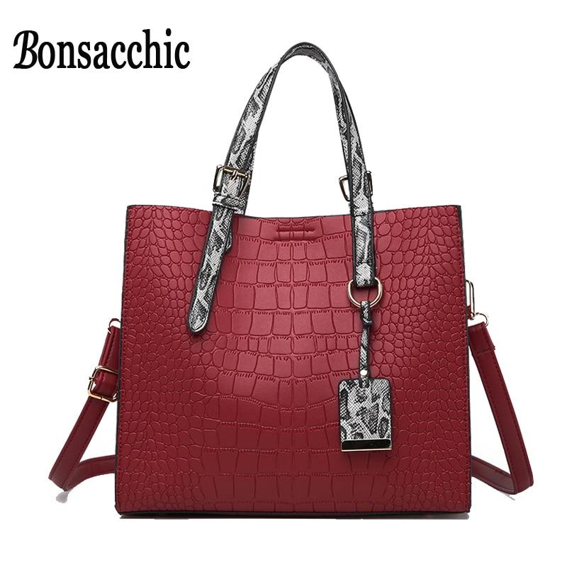 Bonsacchic Red Women Leather Handbag Ladies Hand Bags Handbags Women Famous  Brand Top Handle Tote Bags 90d57d1985