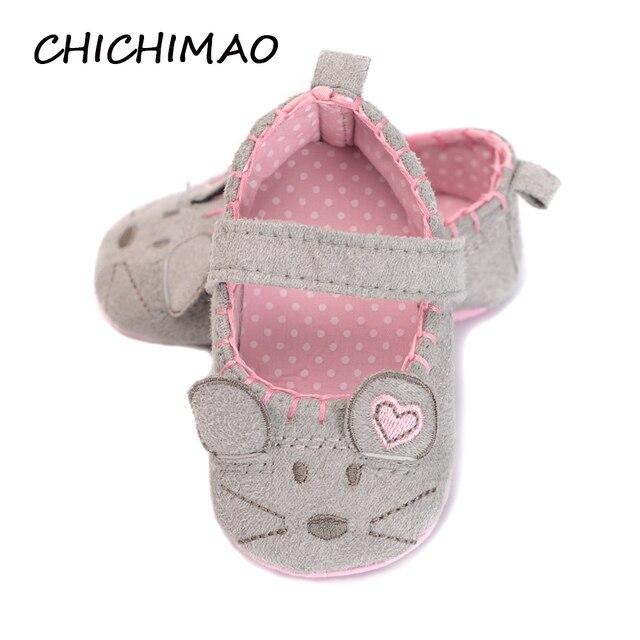 Новорожденных для маленьких девочек обувь милые животные принцесса малыш анти-скольжения на обувь 0-18 месяцев малышей кроватки Hook & петля первые ходоки