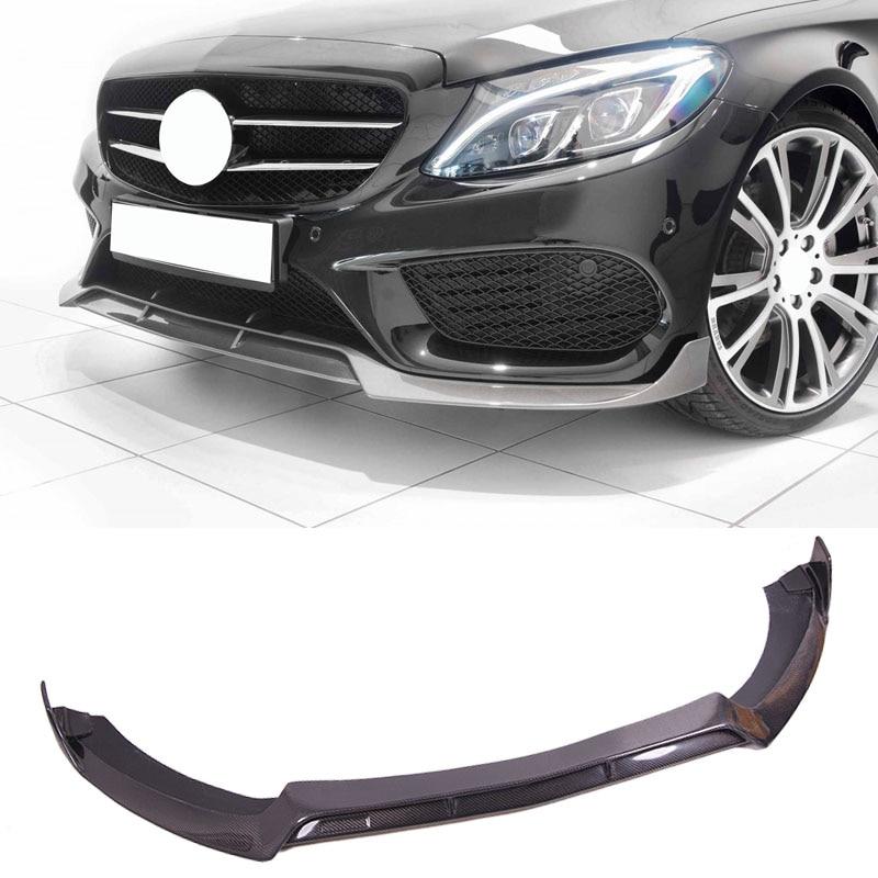 B Style Carbon fiber Front Lip Spoiler Fit For Benz W205 C Class Sport