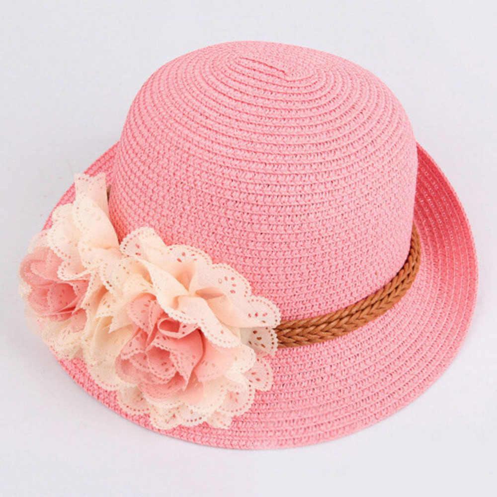 2018 Nieuwe Lente zomer Kinderen bloem koepel strooien hoed baby meisjes Strand Hoeden kids zon Dames Strand Cap Party Gift voor 2-7 jaar