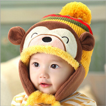 2015 new cute beanies carton monkey hats for kids polyester and acrylic fabric knitted skullies winter