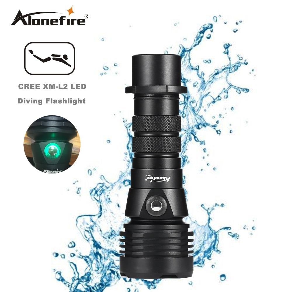 AloneFire DV43 LED Diving Flashlight CREE L2 Underwater 18650 26650 Torch Brightness Waterproof Light Led Torch 1pc lustefire dv 03 professional diving cree l2 led 1800 lumen 50m diving flashlight torch light
