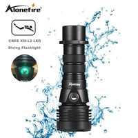 A lone fire DV43 LEDดำน้ำไฟฉายCREE L2ใต้น้ำ18650 26650ไฟฉายสว่างกันน้ำแสงไฟฉายLed