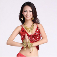 New Arrival Sequins Belly Dance Top Momen Sleeveless Butterfly Belly Dance Body Tops Sexy Top 11