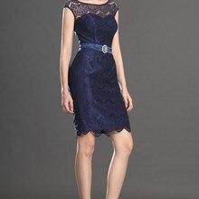 Элегантный головной убор рукава темно-синие кружевные Коктейльные Вечерние платья