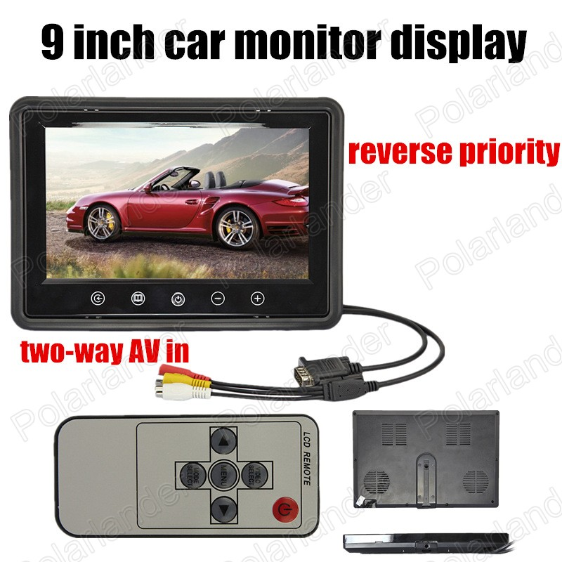 New 9 inch LCD reverse priority Car Monitor Mini TFT LCD Car Monitor display two way