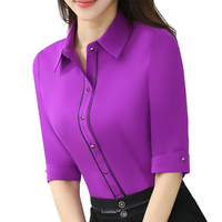 Turn Down Collar Spring Wear Half Sleeve Women Purple Blouse Female Casual Style Elegant Fashion Slim