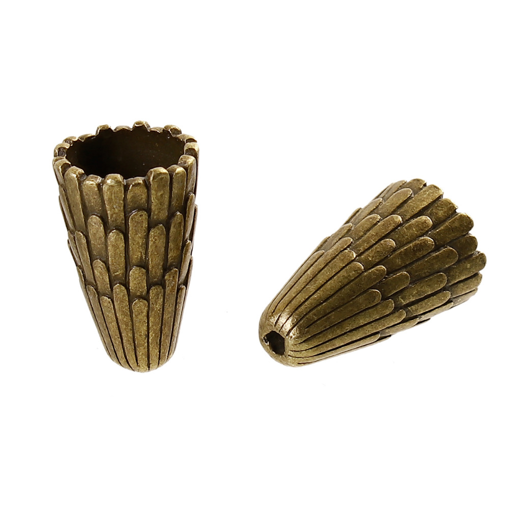DoreenBeads Zinc Based Alloy Antique Bronze DIY Beads Caps Cone Stripe Pattern (Fit Beads Size: 12mm Dia.) 29mm x18mm,2Piece classic stripe pattern loose fit shirt