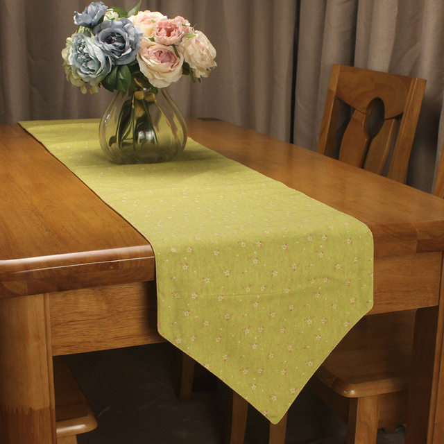 CURCYA Cotton Linen Japanese Style Table Runners For Tea Tables Plain  Florets Printed Decorative Table Runner For Dining Table