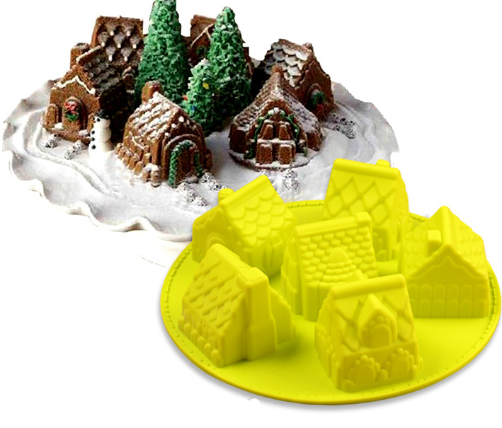 3D mini Houses Cake mold Gingerbread Houses  Silicone cake Mold  Baking Tools free shipping