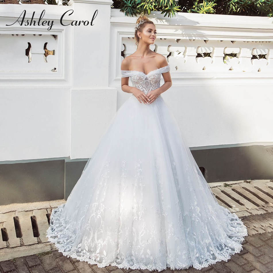 Ashley Carol Sexy Sweetheart Cap Sleeve Lace Princess Wedding Dress 2019 Sequined Sweep Train Bride Dress Backless Wedding Gowns