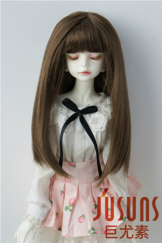 18-20CM 7-8inch  Doll wigs MSD 1/4 Synthetic mohair doll wigs  Long hair with full bang BJD wig JD371 classic femal long black wigs with neat bangs synthetic hair wigs for black women african american straight full wigs false hair