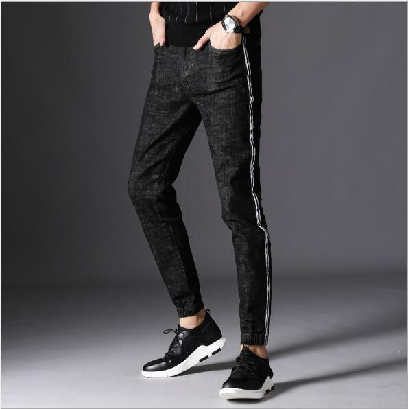 Men s Jeans Classic Stretch Black Business Casual Denim Pants Slim White  Side Striped Jeans Men Stretch Long Trousers 99dc91e14