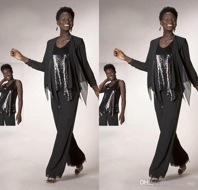 Tres Piezas de La Madre De La Novia Traje de Pantalones 2017 de La Gasa de Lentejuelas Madre de la Madre de la Boda el Novio Vestido de La Colmena de La Vendimia