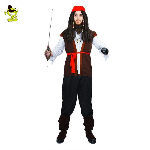 5b427b74e Caribe   Pirata Fantasias Para Adultos dos homens Mens Moda Estilo Roupas  Para Partido Do Disfarce