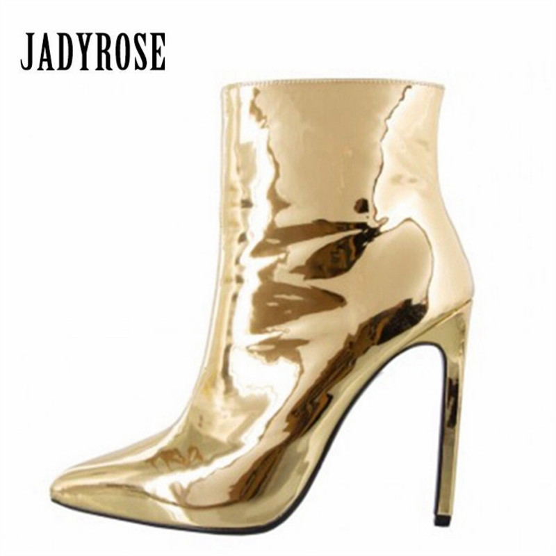 JADY ROSE Gold Mirror Patent Leather Women Ankle Boots Pointed Toe High Heels Women Pumps Metallic Sexy Stiletto Short Botas stiletto metallic ankle strap heels