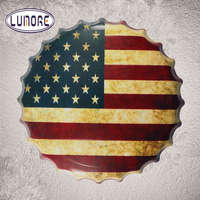 Round USA Flag Round Bottle Cap Vintage Tin Sign Wall Decor Retro Metal Art Poster Restaurant Coffee Cafe Wall Stickers Decor