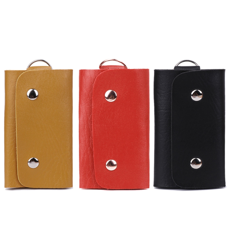 Sell at a loss! Unisex Faux Leather Car Key Holder Bag Key Chain Key Wallets With 6 Key Holder Design 3 Color
