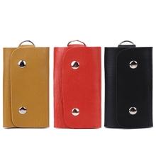 Verkaufen zu einem verlust! Unisex Faux Leder Auto Schlüssel Halter Tasche Schlüssel Kette Key Wallets Mit 6 Schlüssel Halter Design 3 Farbe cheap THINKTHENDO CN (Herkunft) 10 5cm 16cm Brieftasche 3TD00887-Y Mode Faux leather Fest Yellow Red Black 5 5x10 5cm 2 17x4 13