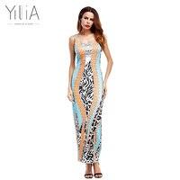 Yilia Summer African Leopard Print Long Maxi Beach Party Dresses Evening Women 2017 New Sleeveless Casual