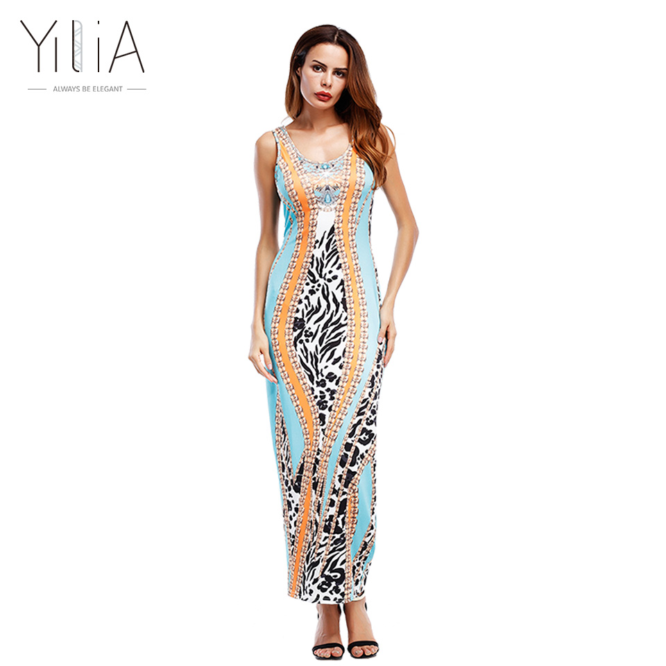 yilia Official Store Yilia Summer African Leopard Print Long Maxi Beach Party Dresses Evening Women 2017 New Sleeveless Casual Fashion Tank Boho Prom