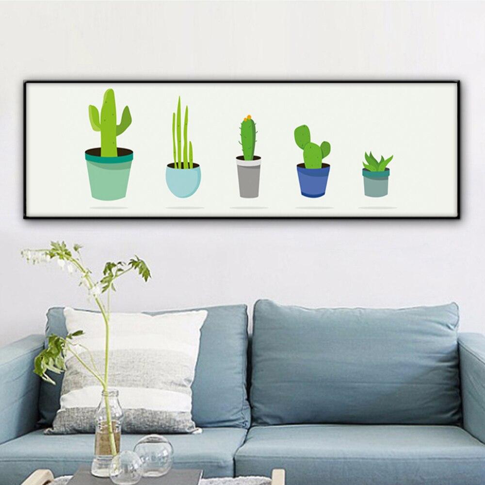 bianche pared moderna minimalista de cactus en maceta planta de lona pintura art print poster foto