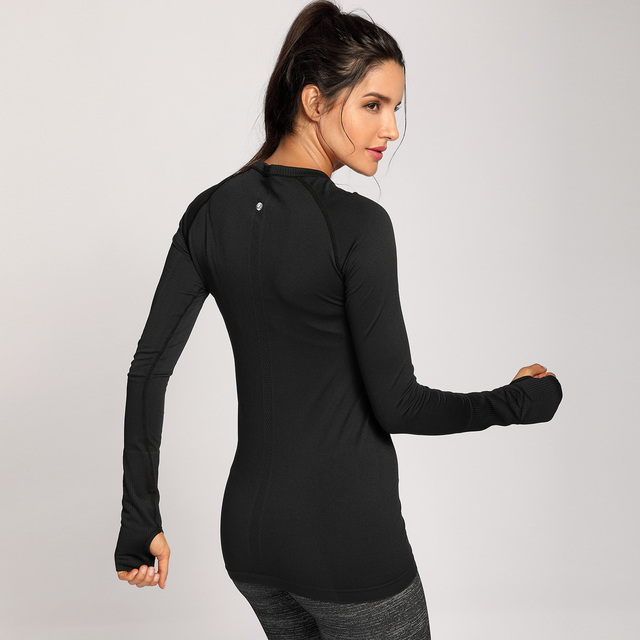 Active Wear Long Sleeve Sports Tee Top Seamless Leisure T-shirt XS-XL  4 colors