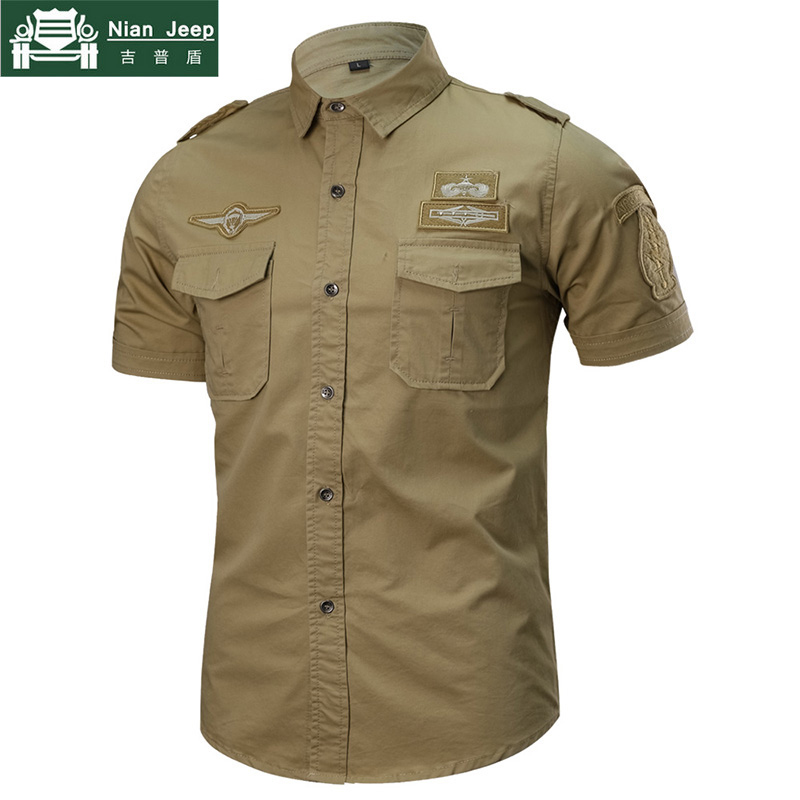 2018 New Summer Military Shirt Men Cotton Short Sleeve Casual Shirts Male Big Size M-6XL 101 Airborne Tactical Camisa Militar