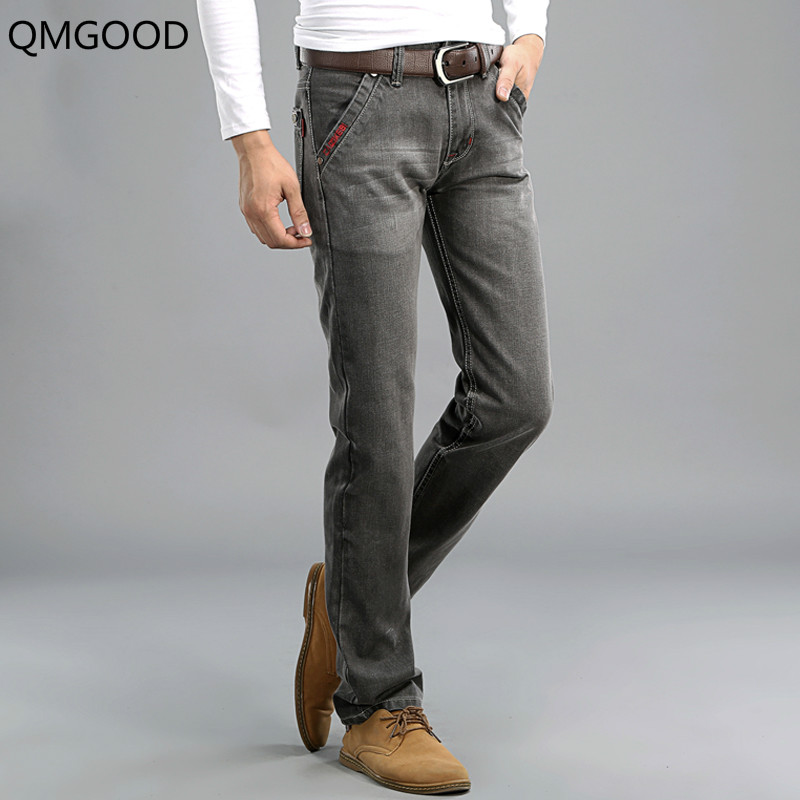QMGOOD Classic Gray Color Denim Men Jeans European Retro Design Youth Slim Fit Jeans Men Fashion Street High Quality Biker Jeans european youth policy regarding active youth participation