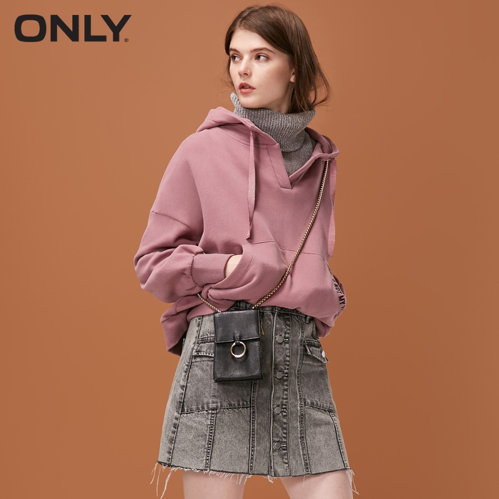 ONLY womens' winter new fake two piece plus velvet hoodies Fake two piece design Warm high collar|11839S572