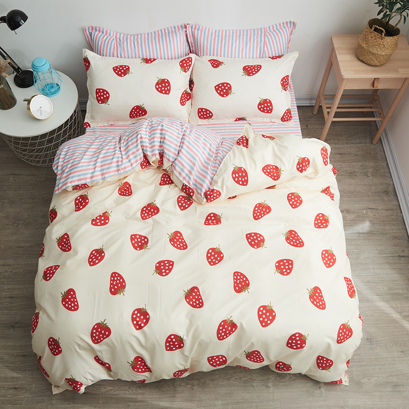 Strawberry 3/4pcs light yellow bedding set quilt sheets pillowcase Pure color sheets good quality best-selling home textiles
