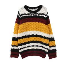 high quality 2016 new fashion women's wram thick loose oversized boy friend striped knitted Baseball jumper pullovers sweater