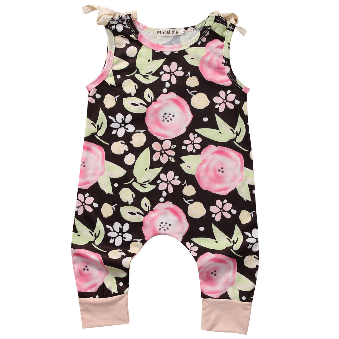 Cotton Toddler Kids Baby Girls Summer Strap Floral Romper Jumpsuit Pants Clothes Outfit