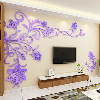 European Style 3D Flower Tree Wall Sticker Living Room Decorative Decals Home Art Decor Poster Solid Acrylic Wallpaper Stickers 11