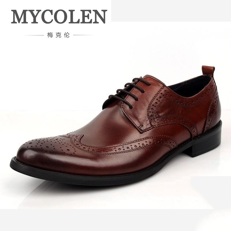 MYCOLEN Men Leather New Business Leather Shoes Men's Luxury Pattern Business Dress Gentlemen Working Shoes Chaussures Men ремни lee ремень gentlemen