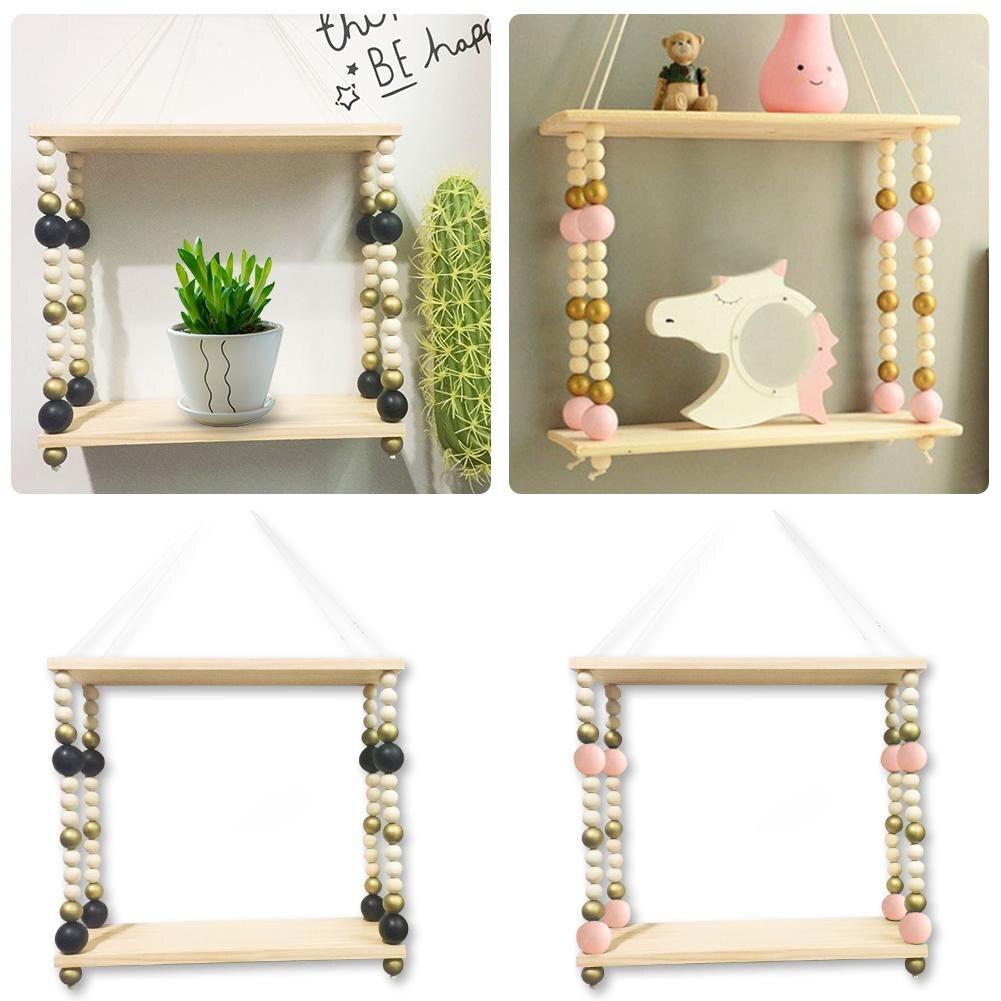 Bedroom Wall Shelf DIY Original Wood Double-deck Wooden Bead Storage Shelf Organization Home Decor Kids Room Wall Decoration Полка
