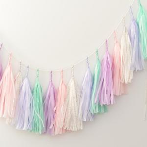 Image 1 - 5 pz/set pastello carta velina nappa ghirlanda arcobaleno unicorno Macaron pastello colore 1 ° compleanno festa Decor Baby Shower matrimonio