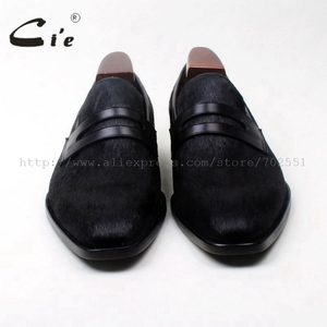 Image 3 - cie square toe penny shoe black horse hair bespoke leather man shoe handmade calf leather breathable genuine slip on loafer126