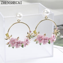 2018 Cute Round Gold dangle Earrings pink Flower Drop Earrings Fashion Ear Circle For Women Boucles D'oreilles Fantaisie Jewelry(China)