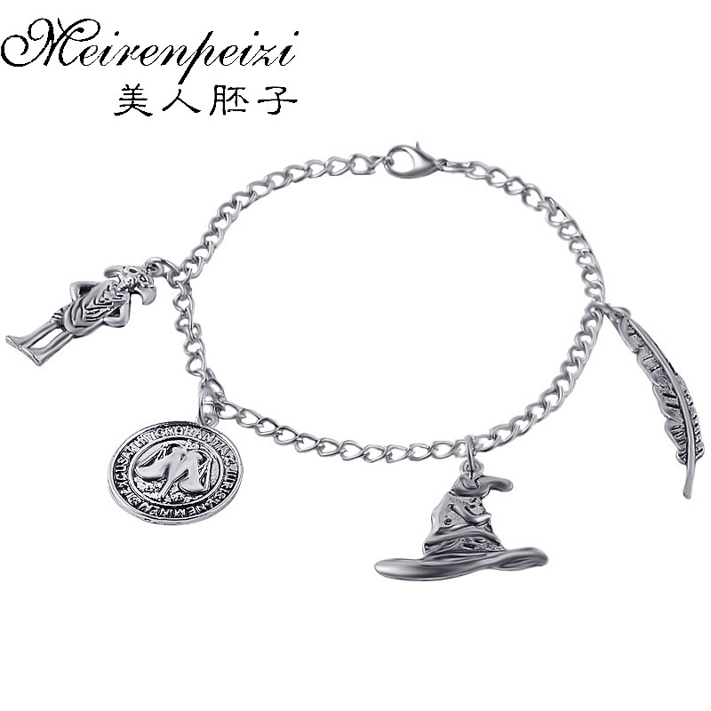 Elf Dobby Magic Hat Quill Pens Vintage Cool Logo Various Charms Pendant Bracelet Chirstmas Gifts For Fans Movie Jewelry