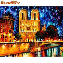 RUOPOTY Frame Notre Dame De Paris Diy Paint By Numbers Wall Art Picture Handpainted Painting By Numbers For Home Decor Wall Gift(China)
