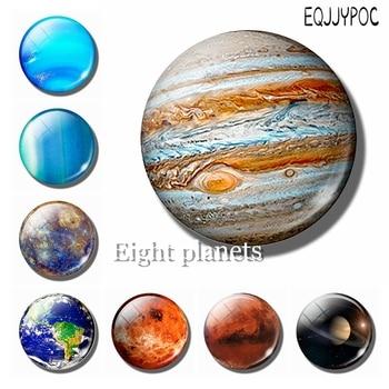Júpiter planeta espacio 30MM imán de nevera ocho planetas cristal cabujón nota titular imanes para la nevera decoración del hogar