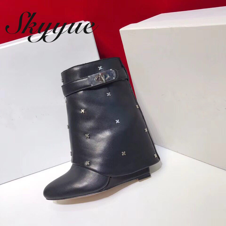 SKYYUE New Genuine Leather Mid Calf Women Winter Boots Pointed Toe Buckle Strap Women Wedges Boots Shoes Women лонгслив мужской компрессионный velocity long casall для занятий спортом