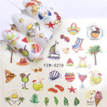 1pcs New Nail Stickers Summer Ice Cream Drink Fruit Green Leaf Water Decals Nail Art Decorations Wraps Sliders Manicure(China)