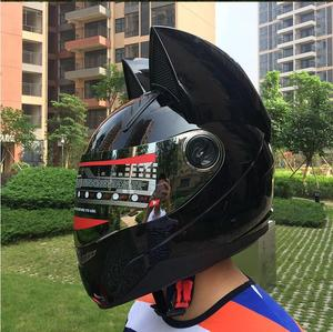 Cat ears motorcycle helmet men's personality cool full face helmet locomotive anti-fog ladies cat ears black helmet(China)
