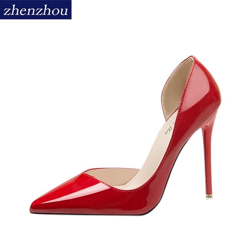 ZHENZHOU Free shipping shoes women 2018 fashion thin heels concise High-heeled Shallow pointed toe Sexy oL Single shoes [328] women autumn fashion shoes pu skin shallow low heeled shoes with high heel pointed shoes for ol lss 888