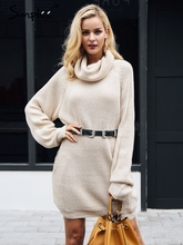 Simplee Turtleneck knitted sweater women Casual loose long sweater pullover female Winter oversize pull knit jumper autumn 2018