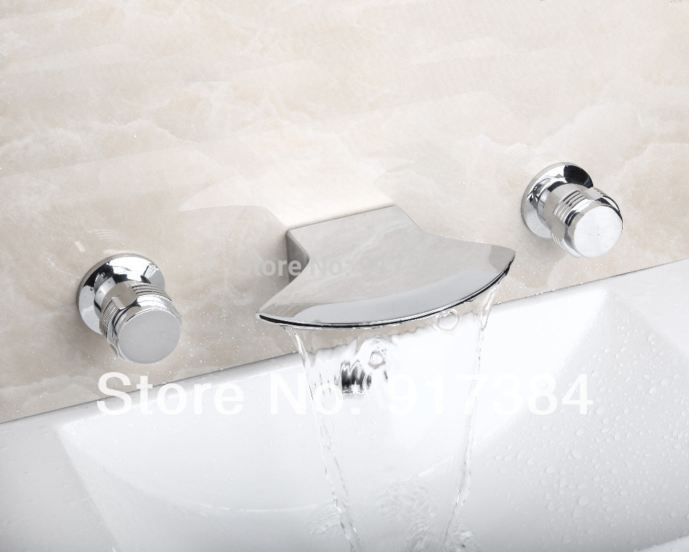 New  Deck Mounted  Hot/Cold Water Double Handles Bathroom Bathtub Basin Sink Mixer Tap 3 pcs Chrome Faucet Set FG-3219 deck mounted 5pcs brass body bathroom bathtub sink mixer tap chrome finish faucet set ly 12dd1